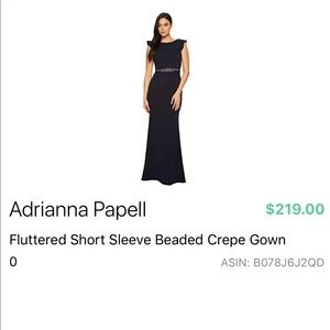 Adrianna Papell navy gown with beaded sash/belt